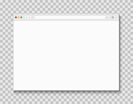 Ventana del navegador web. Diseño de plantilla de marco de computadora o internet de maqueta de página plana. Navegador web de pantalla en blanco Ilustración de vector