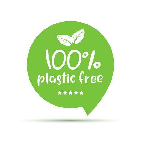 Plastic free green icon badge. Bpa plastic free chemical mark zero or 100 percent clean