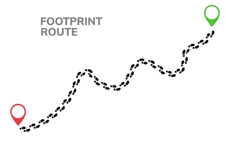 Footsteps footprint trekking route. Follow foot steps track human trail, Walker path print