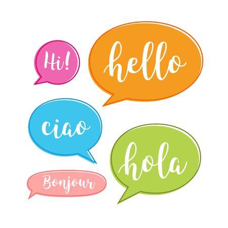 Hello bubble in different language. English, italian, french, spanish speech school, hello concept