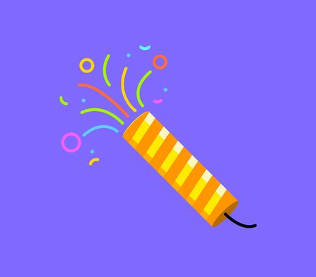 Firecracker icon vector party. Birthday surprise flat logo popper, firework confetti petard event festival