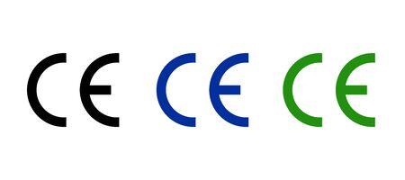 CE mark icon symbol, european certificate. CE logo manufacturer product sign europeene label quality 向量圖像