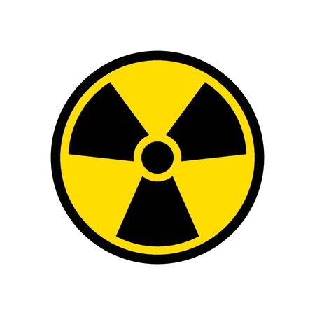 Radioactive icon nuclear symbol. Uranium reactor radiation hazard. Radioactive toxic danger sign design