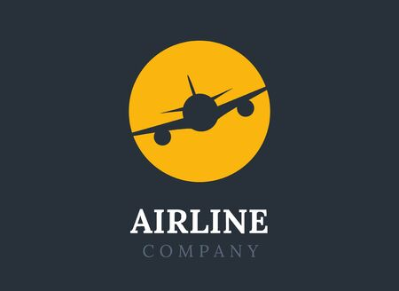Airline logo plane travel icon. Airport flight world aviation. Aircraft business tourism logo Иллюстрация