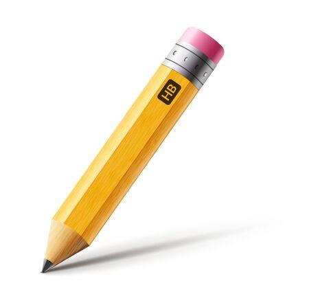 Crayon jaune court de vecteur, dessin animé isolé de crayon réaliste avec la gomme en caoutchouc
