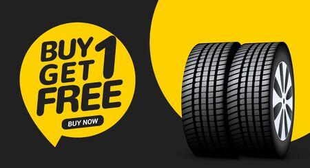 Car tire sale banner, buy 1 get 1 free. Car tyre service flyer promo background. Tire sale advertising. Ilustração