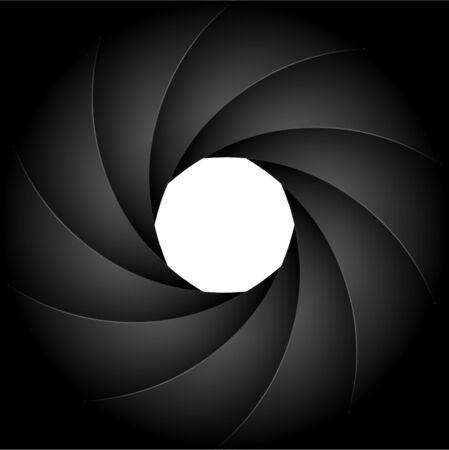 Camera sluiter fotografie achtergrond diafragma. Focus vector zwarte lens zoom digitaal ontwerp.
