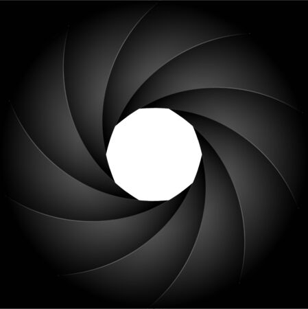 Ouverture d'arrière-plan de la photographie de l'obturateur de l'appareil photo. Focus vector design numérique zoom lentille noire.