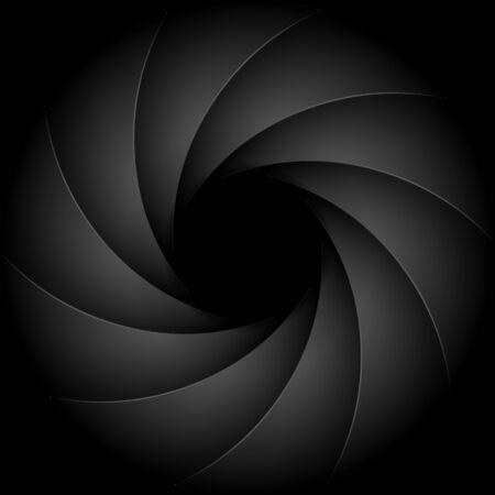 Camera shutter photography background aperture. Focus vector black lens zoom digital design. Ilustração