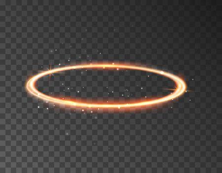 Ángel halo anillo icono de aureola de santo. El halo del ángel del anillo sagrado aisló el elemento realista del círculo de oro nimbus. Ilustración de vector