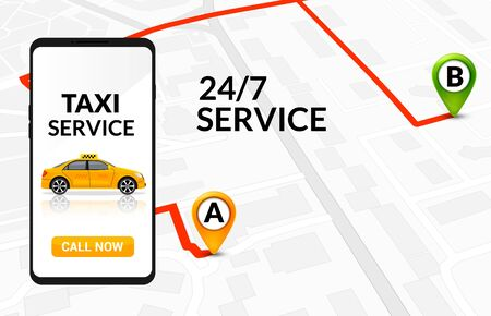 Taxi service app design. Mobile phone order taxi in city map location illustration.
