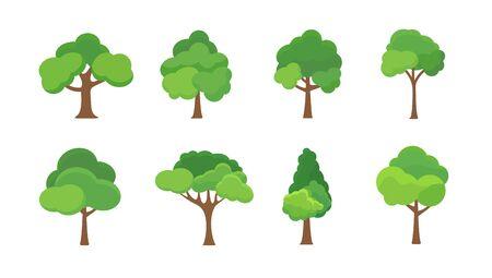 Flat tree icon illustration. Trees forest simple plant silhouette icon. Nature oak organic set design. Çizim
