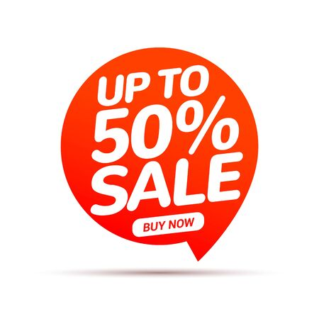 50 percent Sale speech bubble banner sign. Discount tag design template. Business label promo offer.  イラスト・ベクター素材
