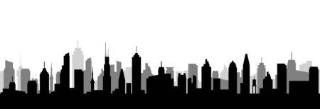 Cityscape silhouette urban illustration. City skyline building town skyscraper horizon background Ilustração