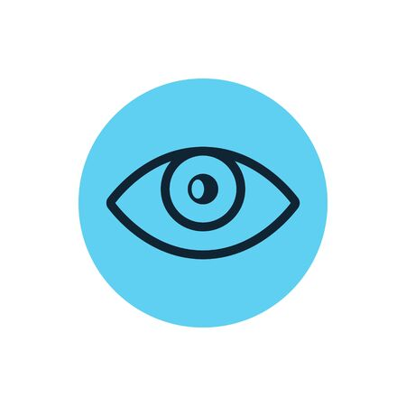 Eye icon vector line vision eyeball. Outline eye illustration view shape graphic sight