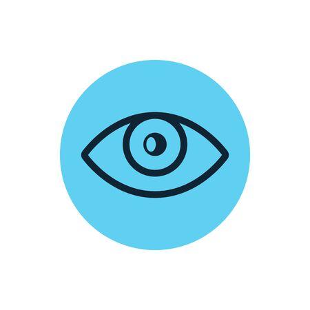 Eye icon vector line vision eyeball. Outline eye illustration view shape graphic sight