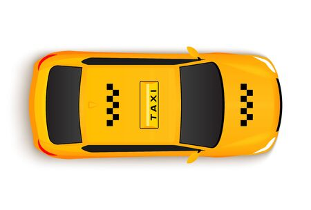 Taxi car top view cab. Vector yellow taxi car illustration vehicle Illusztráció