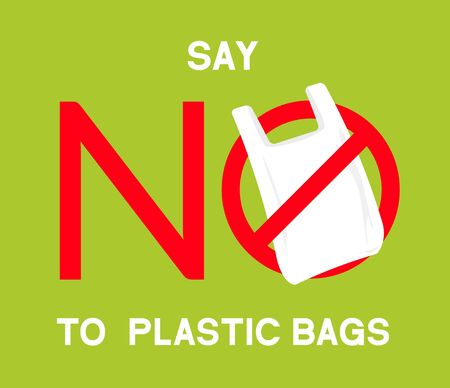 No plastic bags sign concept illustration. Stop pollution eco symbol icon, plastic bag ban forbidden trash sign