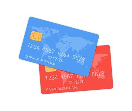 Debit credit card bank design template realistic icon Ilustracja