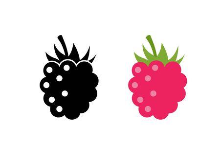 Himbeer-Vektor-Symbol-Illustration. Flache Beeren süße gesunde Bio-Frucht Himbeere Brombeere