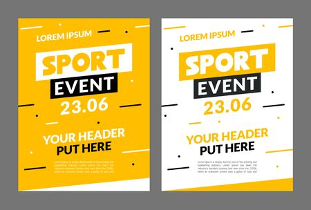 Sport flyer design banner poster. Sport event template brochure for match championship promotion Illusztráció