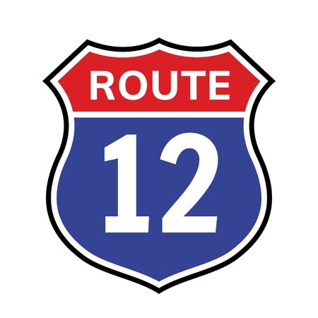 12 route sign icon. Vector road 12 highway interstate american freeway us california route symbol Ilustração
