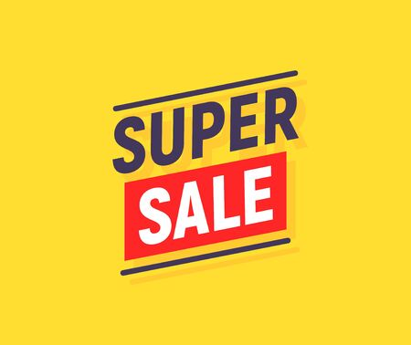 Super SALE banner poster background. Sale promotion offer template design. Vector yellow sale price discount promo