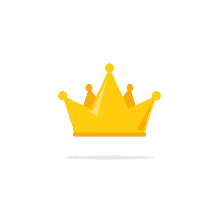 Flat crown king vector icon. Queen princess design crown gold royal