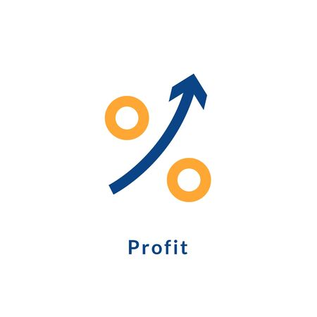 Profit growth icon chart arrow. Profit up success business icon illustration
