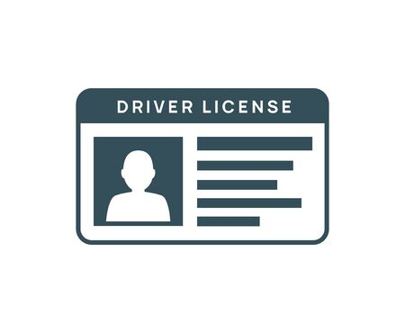 Driver licence icon. Driver id card vector license. Drive identity photo identification Ilustração
