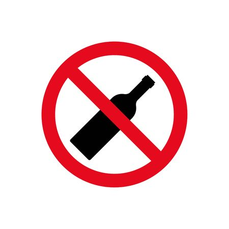 Alcohol not permitted allowed sign. Bottle glass drink forbidden, alcohol symbol stop