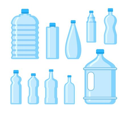 Plastic water bottle icon. Blue liquid container drink, bottle silhouette set. Water cartoon bottles