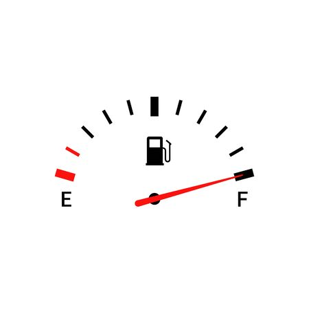 Fuel indicators gas meter. Gauge vector tank full icon. Car dial petrol gasoline dashboard Ilustrace