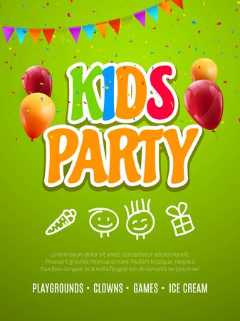 Kids party invitation design template. Child celebrating fun flyer poster banner decoration for kids. Vettoriali
