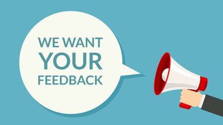 We want Your feedback. Survey opinion service. Attention magephone client customer feedback concept Ilustração