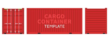 Cargo container box isolated vector. Cargo sides delivery business template Ilustração