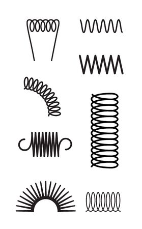 Metal spring set spiral coil flexible icon. Wire elastic or steel spring bounce pressure object design