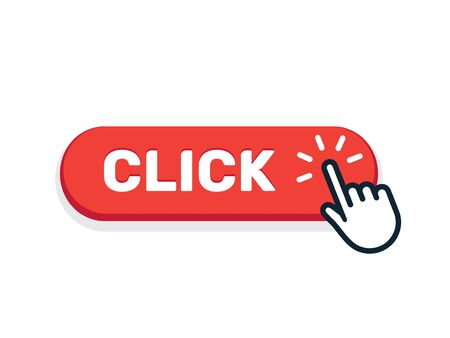 Click here button with hand icon. Vector click web sign cursor symbol. Button isolated