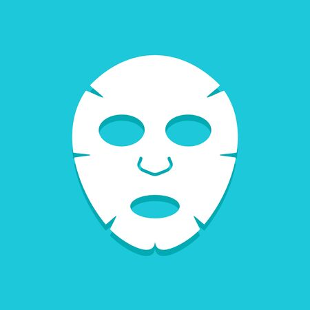 Facial mask flat icon design. Face health care beauty. Cosmetic spa product for clean skin