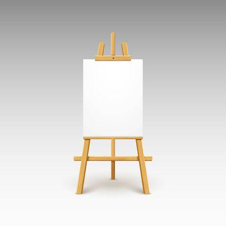 Drewniane sztalugi płótno deska na białym tle stojak. Pusty pusty wektor sztalugi plakat billboard
