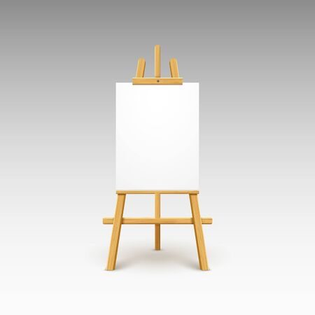 Wooden easel canvas board isolated stand. Blank empty vector easel poster billboard