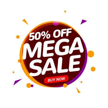 Mega Sale 50 percent speech bubble banner sign. Discount tag design template. Business label promo offer Illusztráció