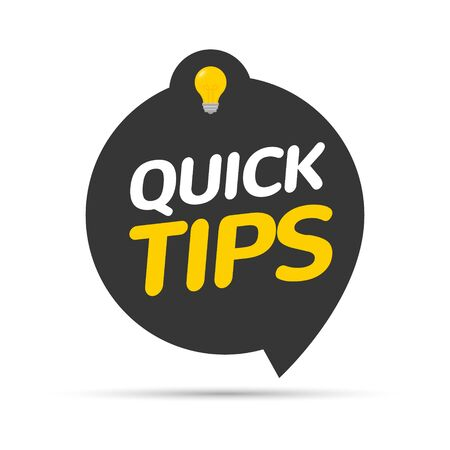 Quick tips icon badge. Top tips advice note icon. Idea bulb education tricks