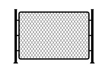 Fence wire metal chain link. Mesh steel net texture fence cage grid wall Ilustração