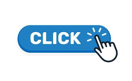 Fare clic qui pulsante con l'icona della mano. Simbolo del cursore del segno web di clic di vettore. Pulsante isolato Vettoriali