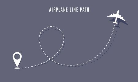 Airplane route path icon. Vector plane flight line trace, travel fly plan Ilustração