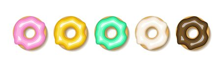 Donut set illustration. Flat donuts dessert cake icon. Doughnut round sweet design