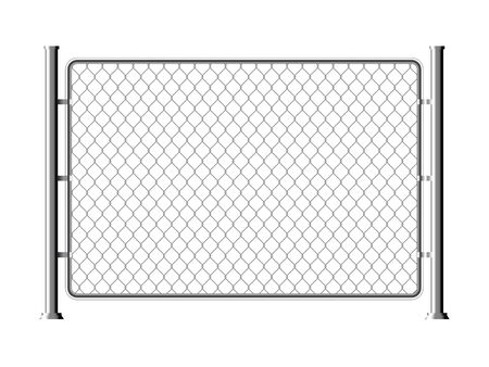 Maillon de chaîne métallique en fil de clôture. Mur de grille de cage de clôture de texture de filet d'acier de maille Vecteurs