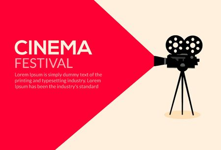 Cinema movie poster design. Vector film camera background retro brochure cinema illustration. Иллюстрация