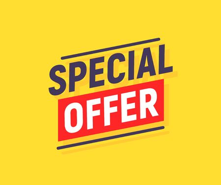 Special offer banner poster background. Sale promotion offer template design. Vector yellow sale price discount promo.